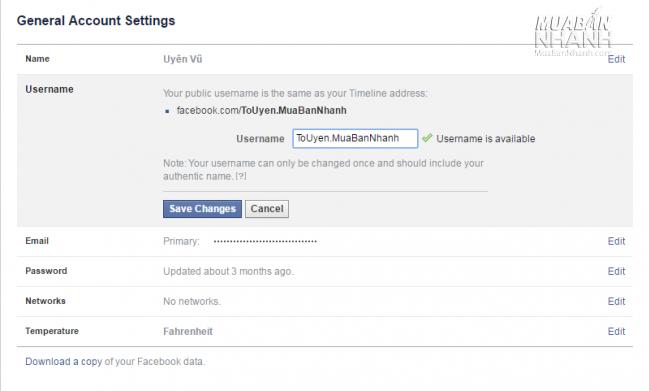 Đổi tên URL Facebook cá nhân