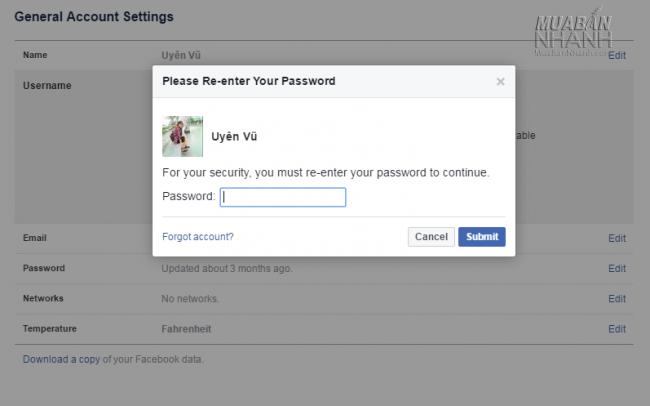 Đổi mật khẩu xác nhận URL Facebook cá nhân