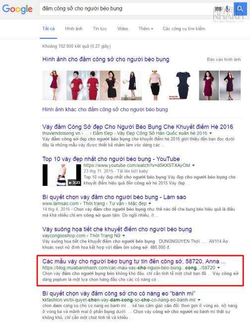 Vị trí tìm kiếm Đầm công sở cho người béo bụng trên Google