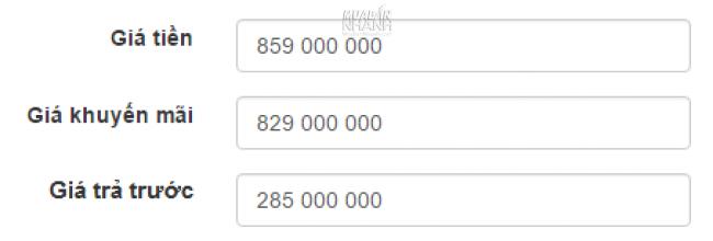 Nhập giá tiền - Giá khuyến mãi - Giá trả trước trong tin đăng MuaBanNhanh